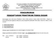Pendaftaran Praktikum Fisika Dasar