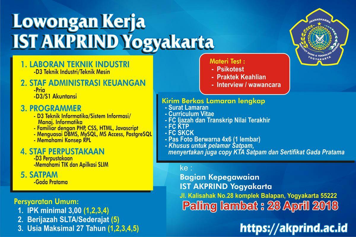 Rekrutmen Kerja April 2018 – IST AKPRIND Yogyakarta
