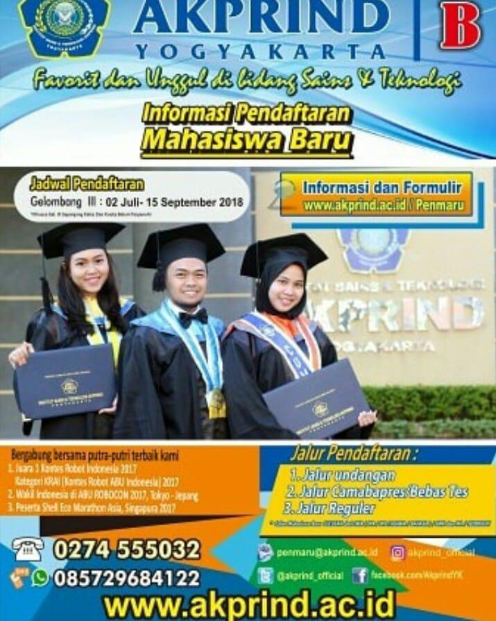 Pendaftaran Mahasiswa Baru IST AKPRIND 2018/2019 sampai 15 September 2018