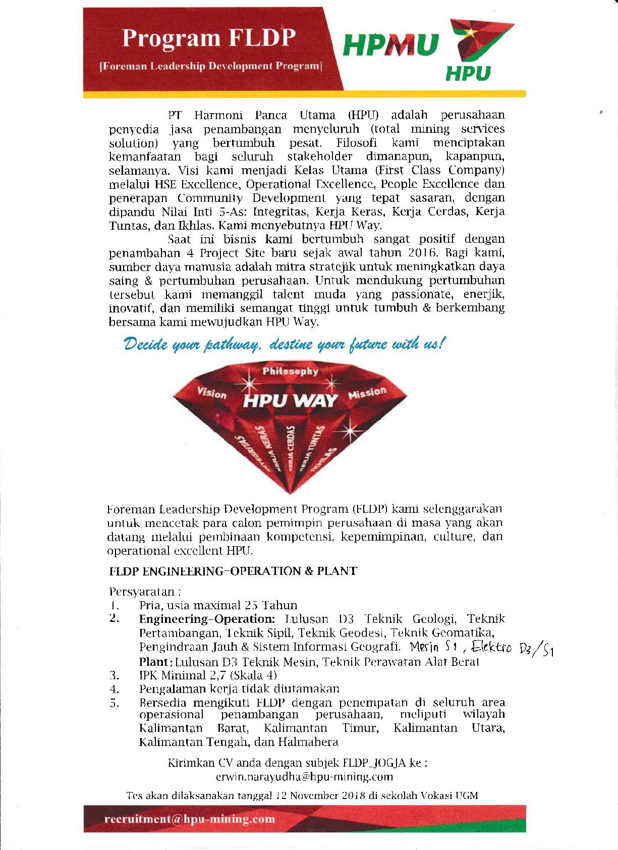 PROGRAM FLDP (Foreman Leadership Development Program) PT. HPU