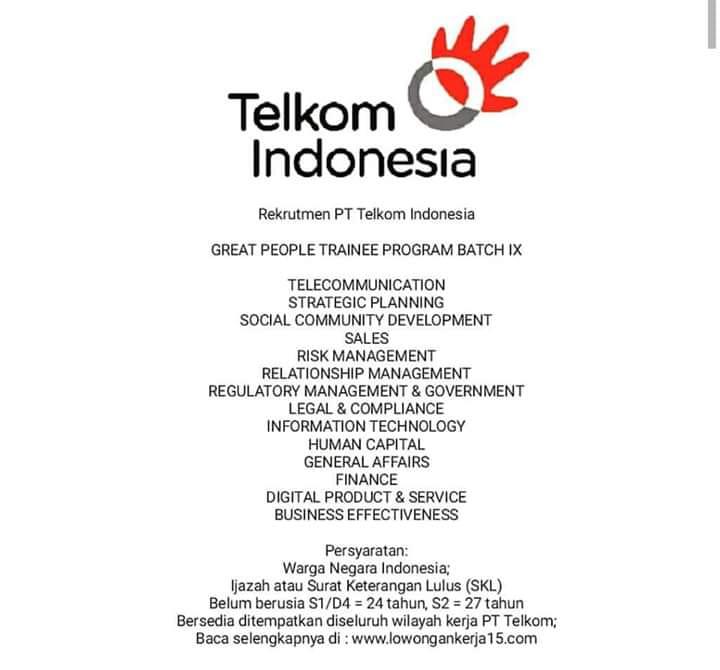 LOWONGAN PT. TELKOM INDONESIA