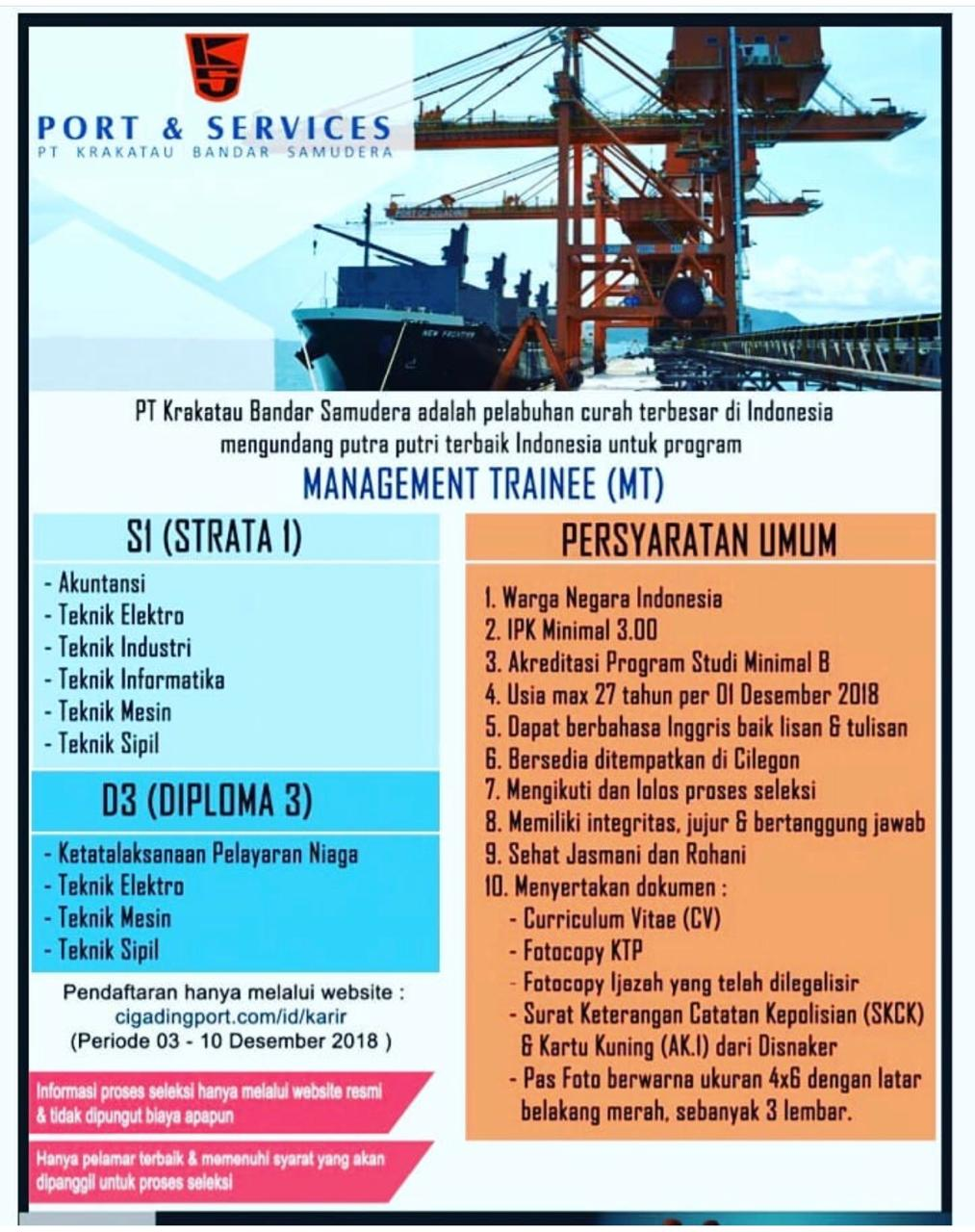 Lowongan Management Trainee PT. Krakatau Bandar Samudera
