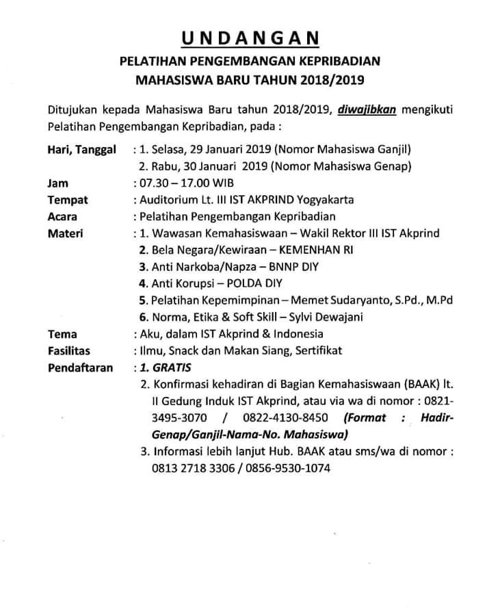 udangan pelatihan pengembangan kepribadian maba elektro IST AKPRIND Yogyakarta