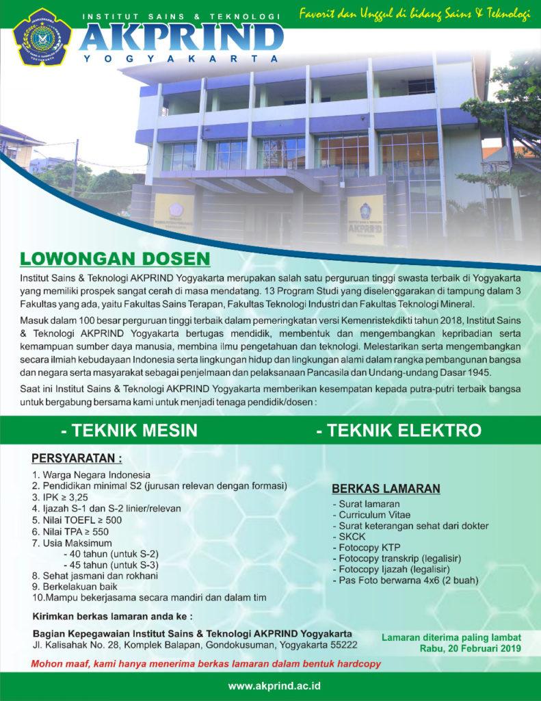 karir dosen teknik elektro IST AKPRIND Yogyakarta