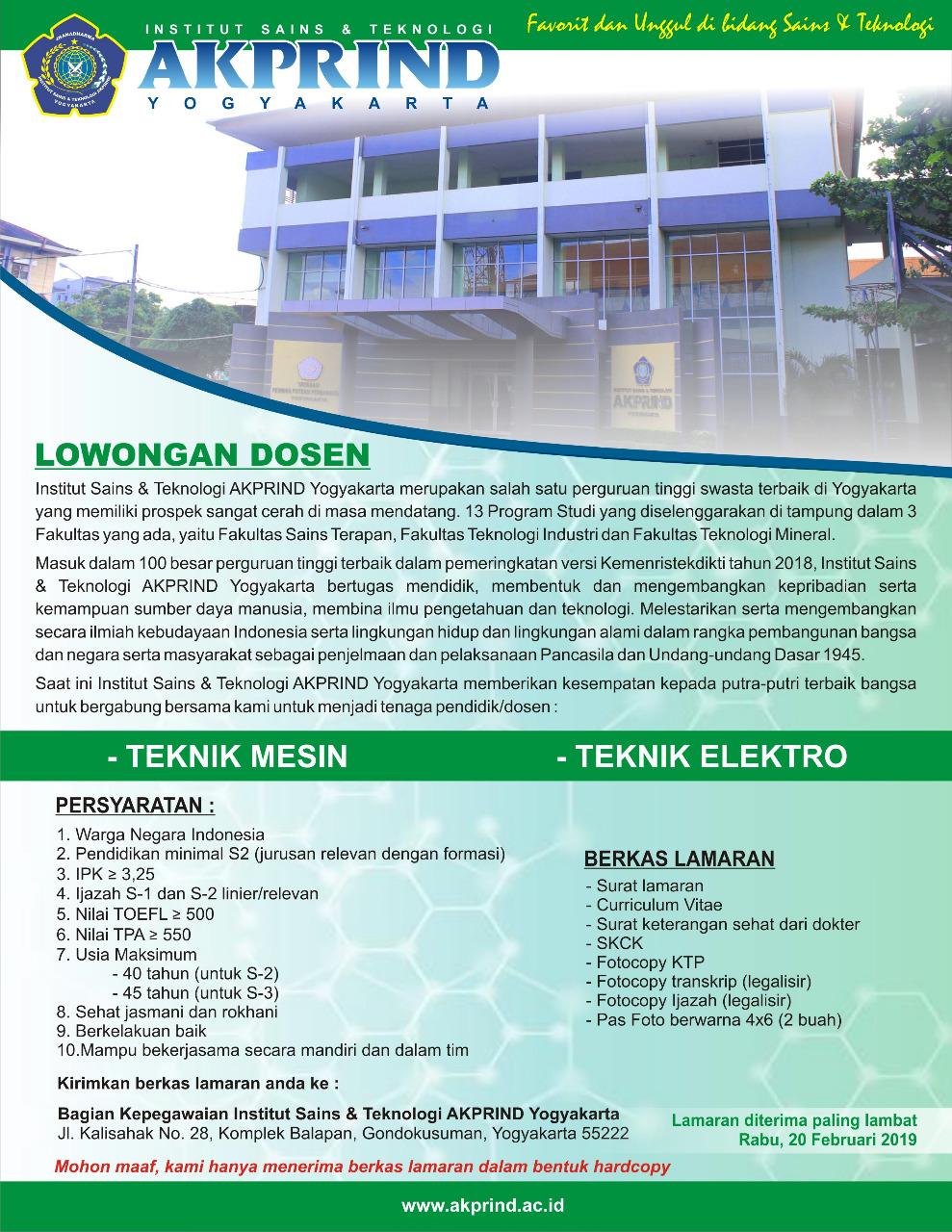 Lowongan Dosen Jurusan Teknik Mesin dan Teknik Elektro