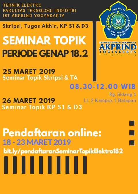Pendaftaran Seminar Topik Skripsi TA dan KP untuk Prodi S1 dan D3