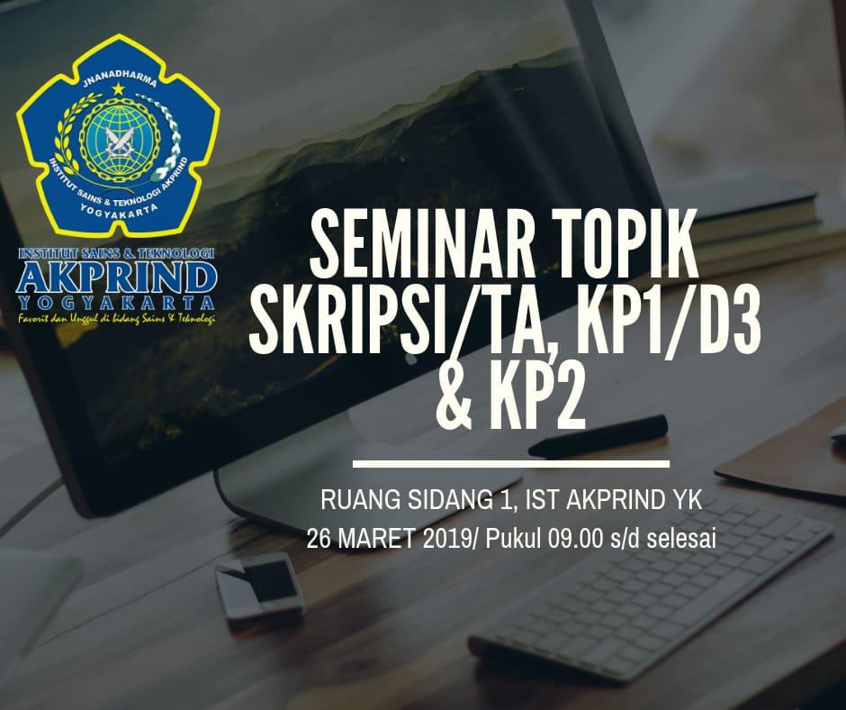 Penjadwalan Ulang Seminar Topik Periode 18.2